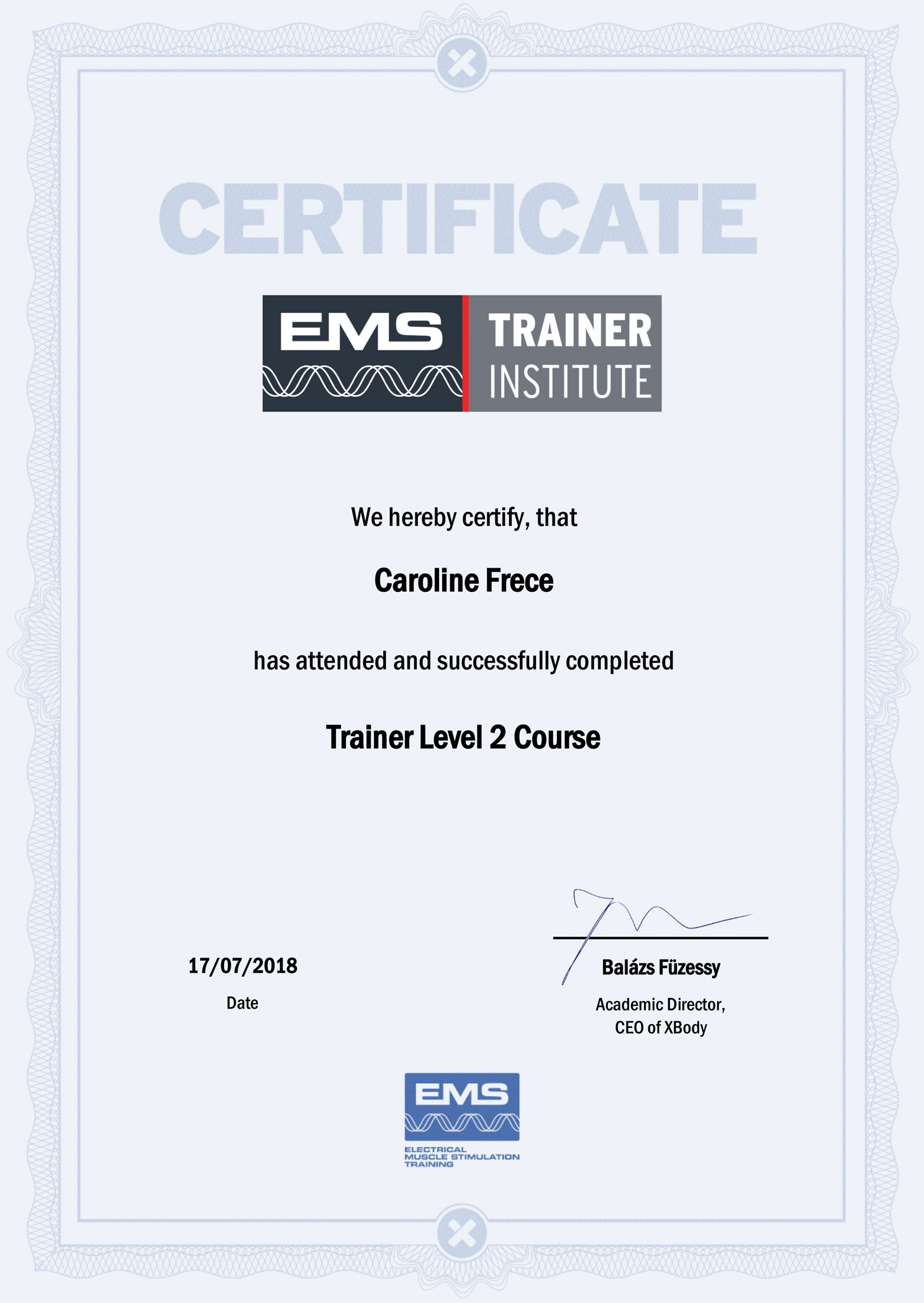 EMS Trainer Certificate